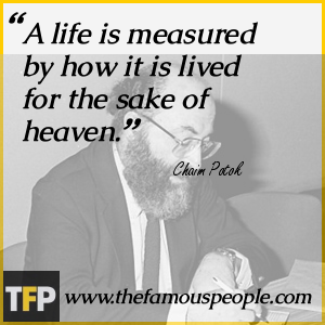 a biography of chaim potok and his works Chaim potok was an american jewish author and rabbi, whose most famous book was the chosen, a 1967 novel which was listed on the new york times' best seller list for 39 weeks and sold more than 3,400,000 copiesmany of his novels are set in the urban environments in new york in which he himself grew up.
